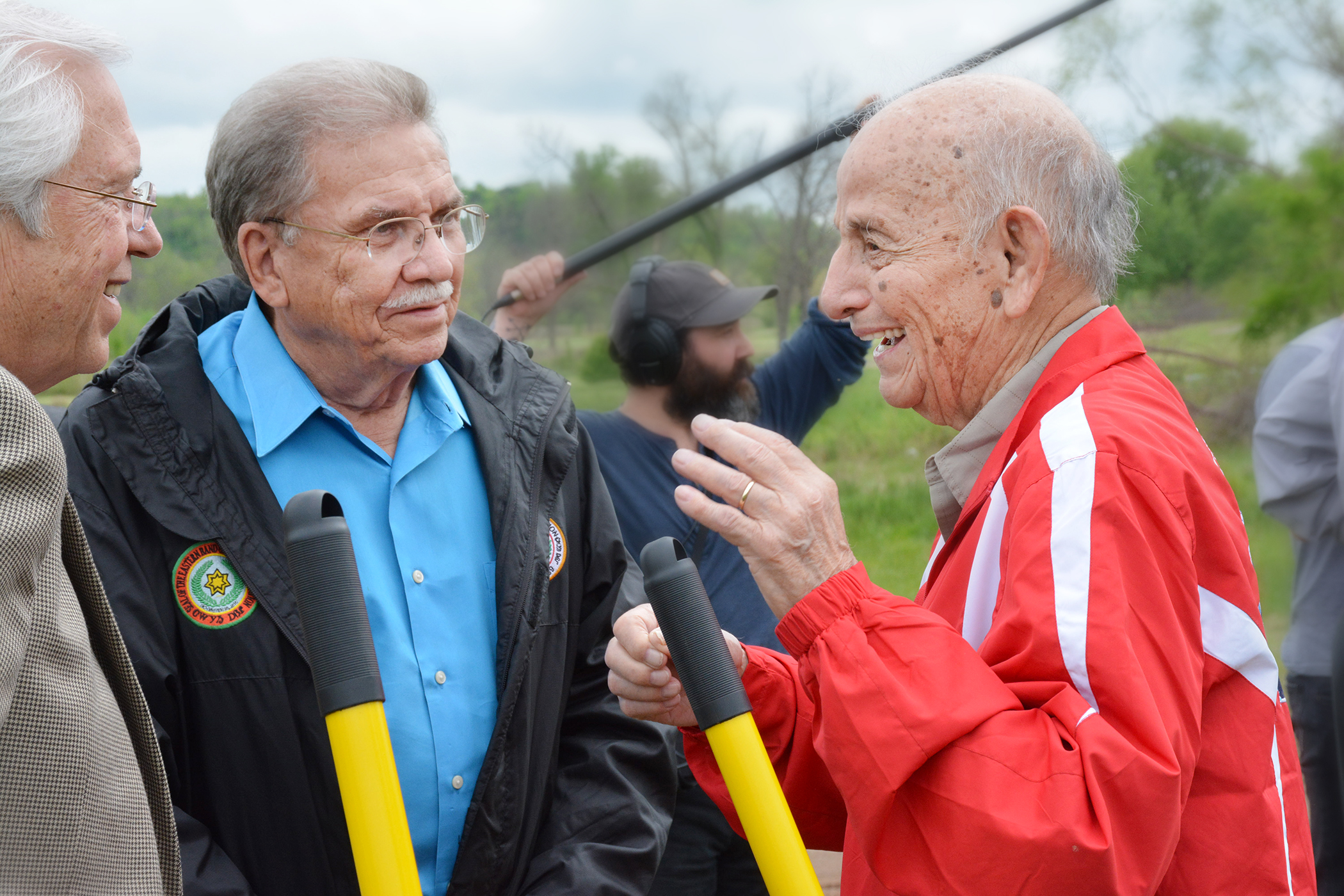 Cherokee Nation Principal Chief Bill John Baker and Deputy Chief S. Joe Crittenden visit with Cherokee Nation citizen and 1961 World Archery Champion Joe Thornton, 99, for whom the new archery park is named.