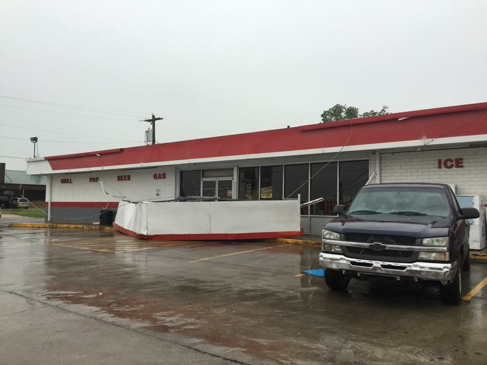 Andy's Convenience Store south of town lost part of its roof.