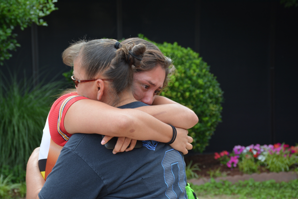 Remember the Removal Bike Ride participant Stephanie Hammer says goodbye to her mother Bernice before leaving for North Carolina.