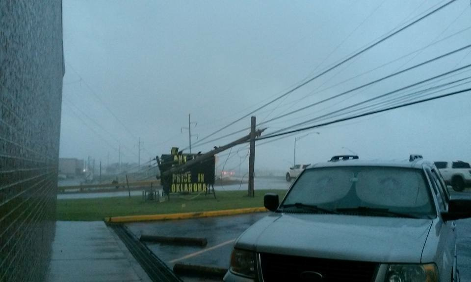A Power Line Is Down At Bob Loftis Furniture On Shawnee.