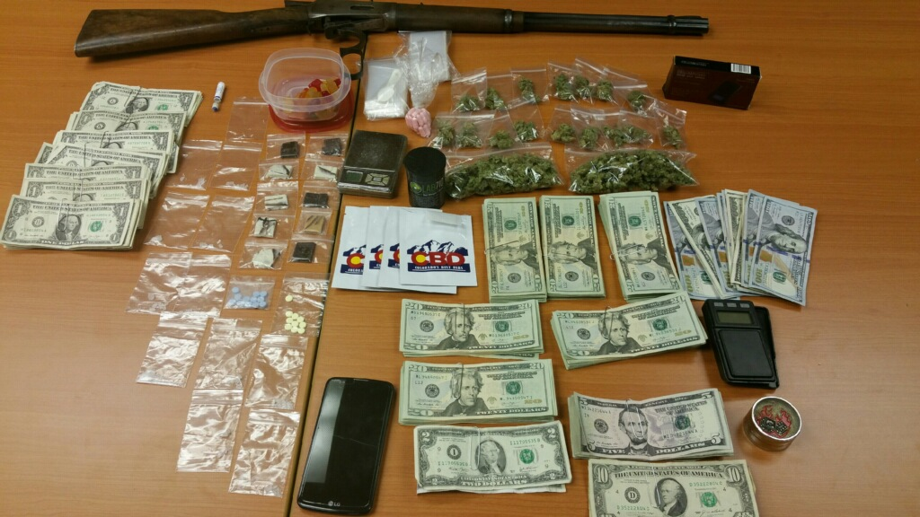 Money, drugs, scales, cell phones and such were found in Wainwright.