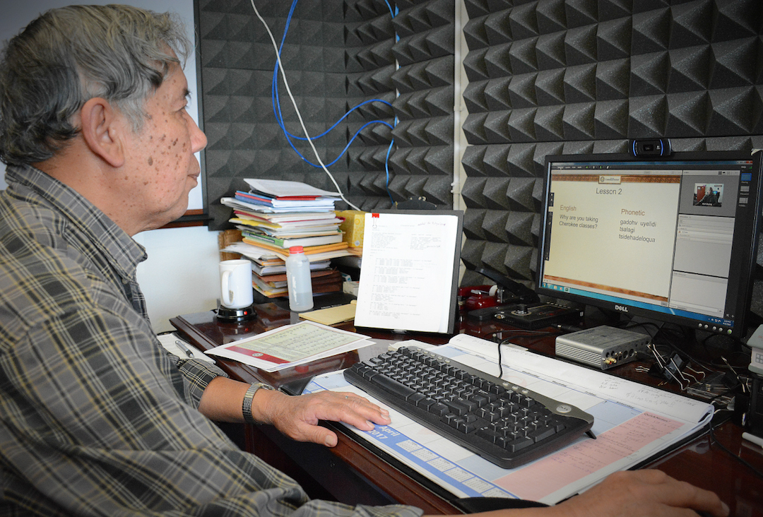 Ed Fields, an online Cherokee language course instructor, uses a live video stream to reach thousands of students across the world each year.