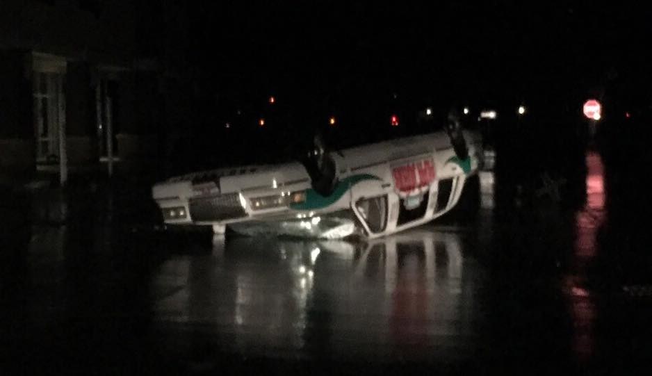The Papa John's limo appears to be overturned in the Dick's parking lot.