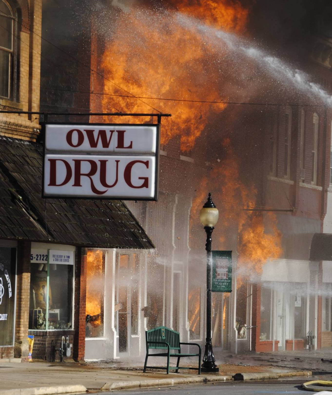 Owl Drug in downtown Wagoner burns.