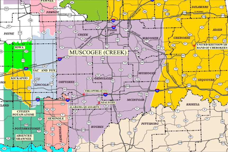 The Creek nation's borders stretch over much of eastern Oklahoma
