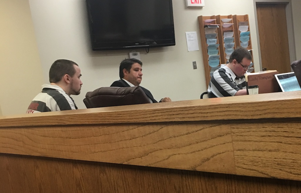 Cody Thompson, right, and Joshua Harrington, left, are accused of torturing, burning and shooting a 15-year-old boy to death in January.