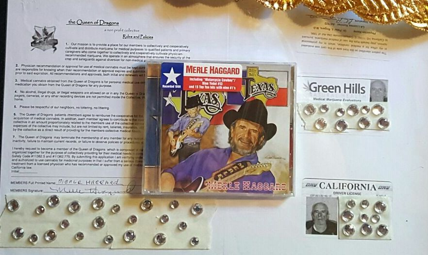 Merle Haggard's membership in a medical marijuana collective, left, and his marijuana card, right.