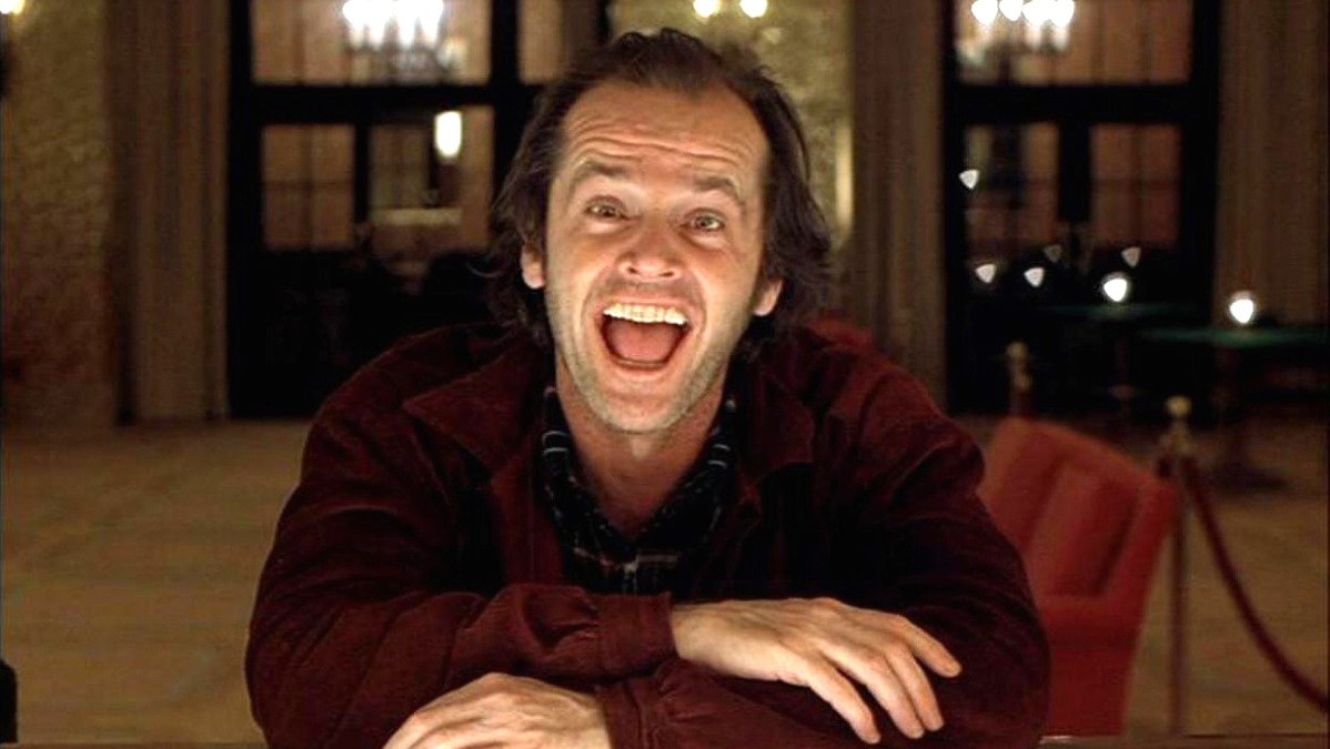 Jack Nicholson plays the iconic Jack Torrance in The Shining.