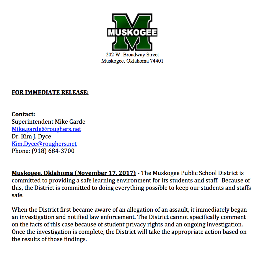 Press release in response to our questions about the beating.