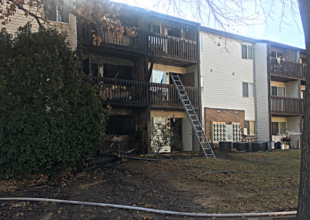 At least 12 apartments were destroyed in the blaze.