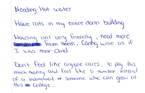 One of dozens of lists students came up with complaining of tenament conditions at Bacone dorms.