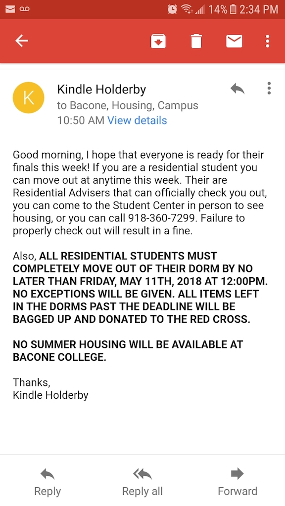 This email was sent to students from Kindle Holderby at Bacone