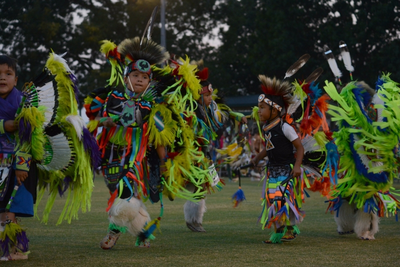 Youth dancers participate in the 65th Cherokee National Holiday powwow in 2017.