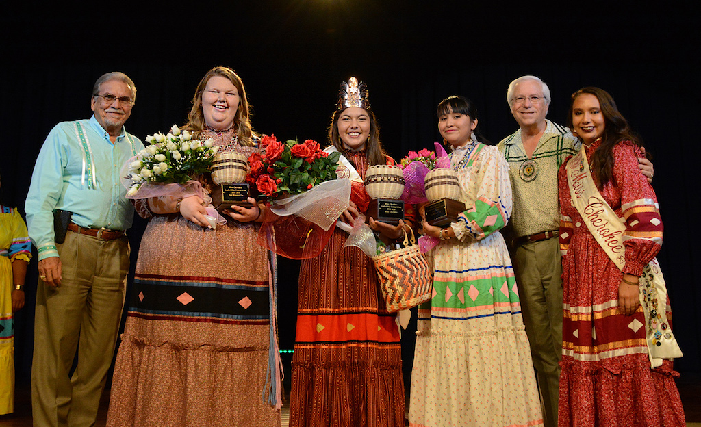 Cherokee Nation Deputy Chief S. Joe Crittenden, Miss Cherokee second runner-up Madison Shoemaker, Miss Cherokee Whitney Roach, Miss Cherokee first runner-up Meekah Roy, Principal Chief Bill John Baker and 2017-18 Miss Cherokee Madison Whitekiller.