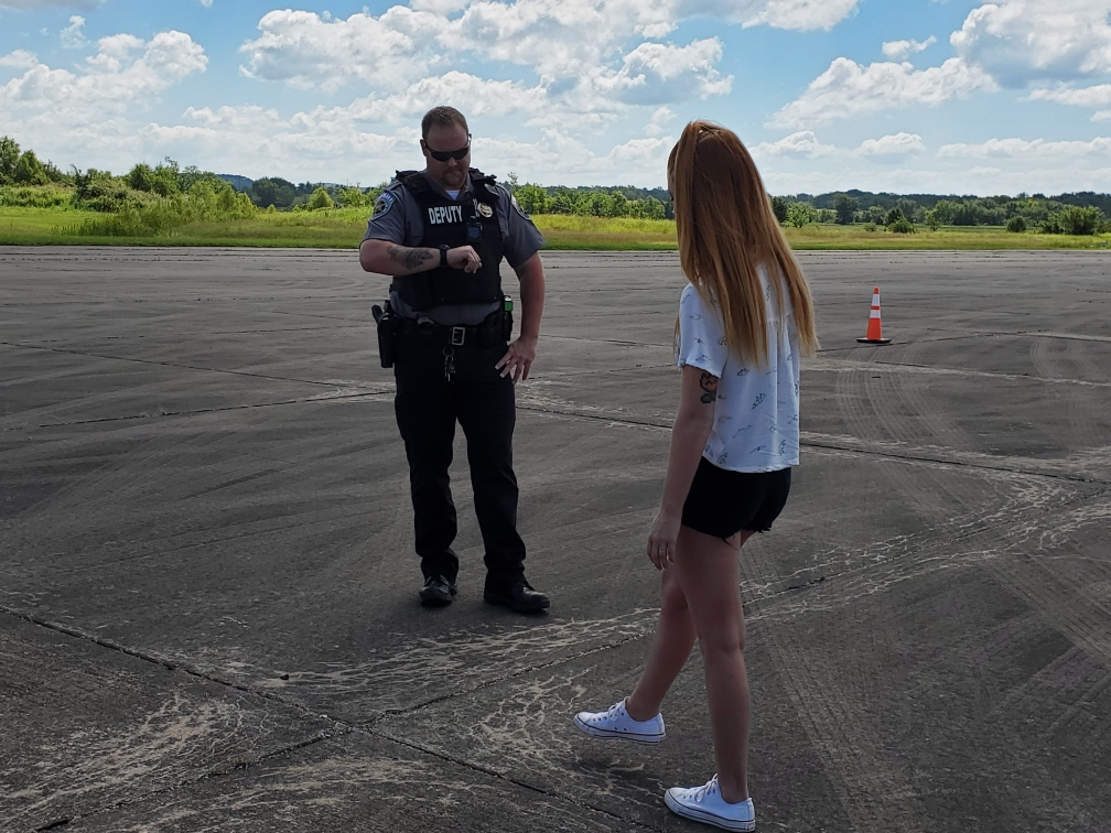 Deputy Chris Gilfillan administers a field sobriety test to a patient who has smoked marijuana.