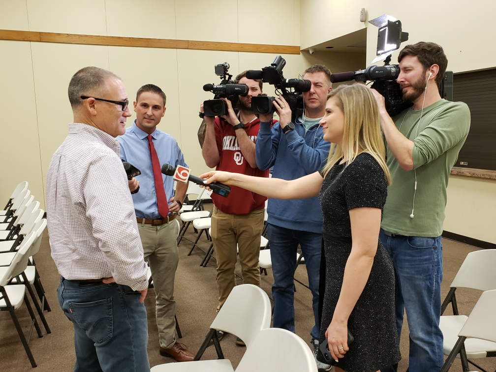 Muskogee County Sheriff Rob Frazier talks to members of the Tulsa media after Fort Gibson town council hired him as the town's new police chief just now.