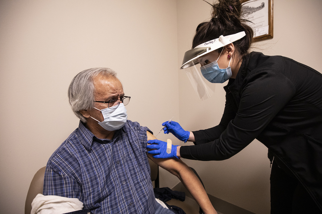 Dennis Sixkiller, a fluent Cherokee speaker and Cherokee National Treasure, was among the first tribal citizens to receive a COVID-19 vaccine as part of the Cherokee Nation's phased distribution plan.