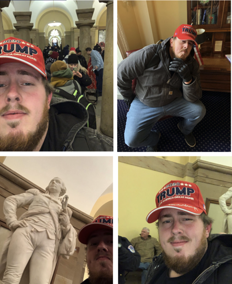 Ryals allegedly took these photos of himself inside the Capitol.