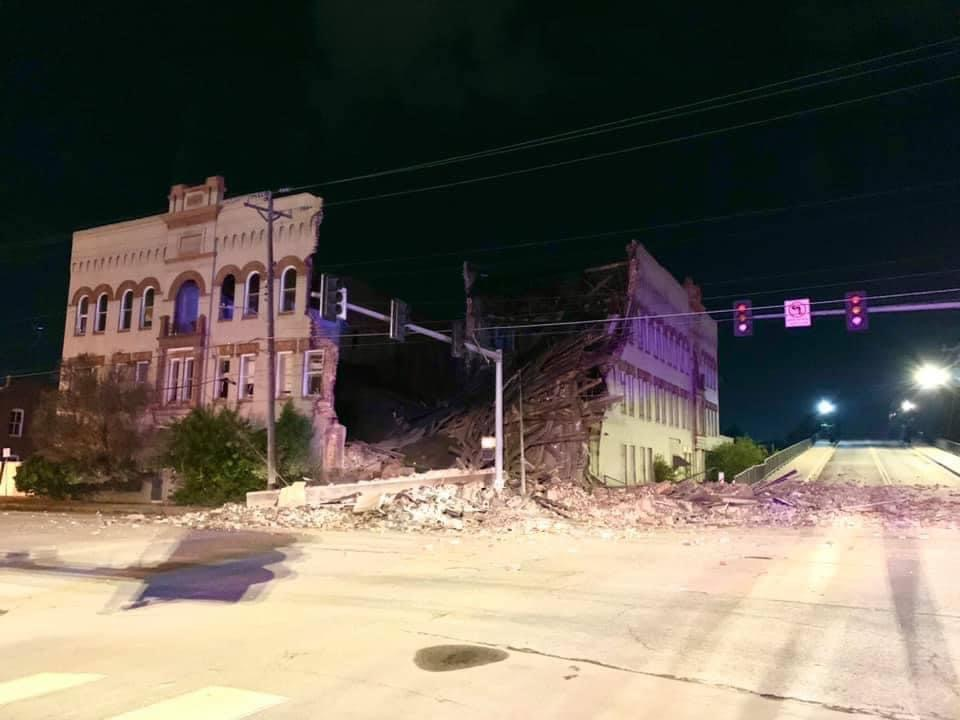 The former Royal Cask et building next to the viaduct at Court and Main has partially collapsed.