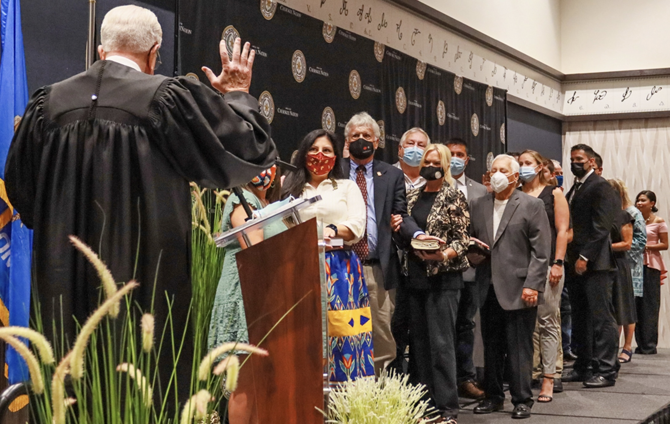 Nine Cherokee Nation Tribal Councilors were sworn into office Saturday as they pledged to preserve, protect and defend the Cherokee Nation Constitution during their four-year terms.
